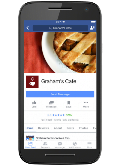 facebook business page on mobile device